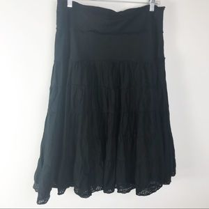 WHBM Black Tiered Lined Lace Raw Edges Skirt 12